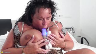 Chubby Mature Brunette With Huge Breasts Playing With Her Sex Toy