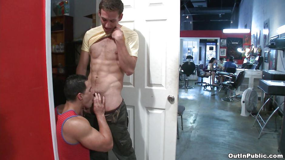 Men sucking cock in public