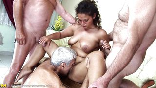 Difficult tell. mature young gangbang not