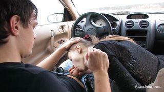 Beata Gets Her Man's Dick To Suck It In A Car