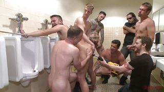 Ass Drilled & Cock Sucked In The Men's Bathroom