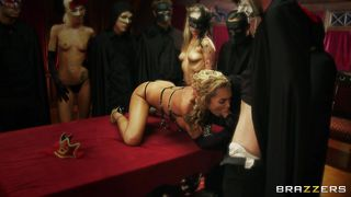 Blonde Milf Served To The Masked Guests!