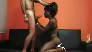 Dark Ebony Babe On Her Knees For Cock