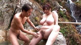 Fat Japanese Milf Has Some Fun Outdoors With Her Big Boobs