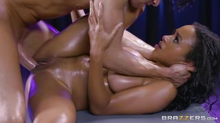 Natural Ebony Babe Likes Big White Cock