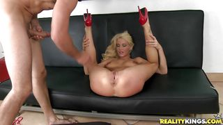 Busty Blonde Milf Getting Roughly Fucked On A Sofa