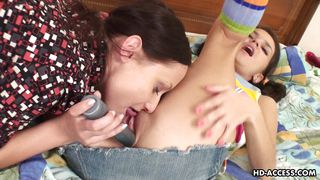 Young Lesbians Play With A Dildo