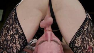 Domineering Tranny Made Corbin To Lick Her Swollen Balls