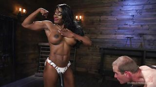 Muscular Ebony Woman Fucks His Ass