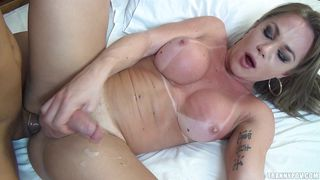 Tranny Whore Ejaculates On Her Thigh