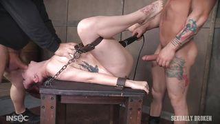 Naughty Slave Has Two Huge Dicks Inside Her