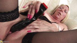 Mature Nl-Blonde Mature Has A Big Black Dildo PornZek.Com
