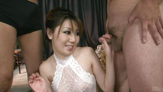 Two Cocks In The Japanese Slut's Mouth
