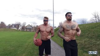 Zack Gets His Mouth Fucked By Tattooed Muscle Man