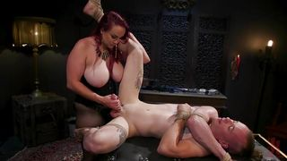 Loser Slave Can Barley Handle The Massive Strap On