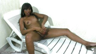 Black Shemale With Natural Tits Strokes Shecock In Closeup
