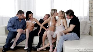 Ladies Get Comfortable On The Couch  5 Incredible Orgies