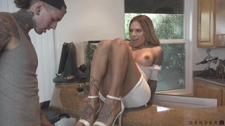 Beautiful Busty Transsexual Gets Her Dick Sucked