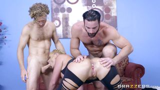 Mature Blonde Pleasing Two Cocks At A Time