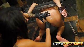 Naked Brunette Gets Bonded
