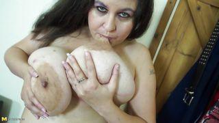 Euro Mature Juggles Her Gigantic Boobs