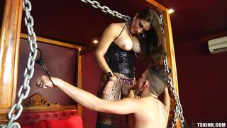 Shemale Domme Pounds Her Slave's Cock