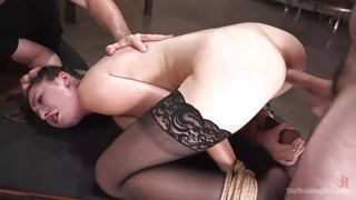 Hot Brunette Slave Learns A Lesson In Rope Bondage