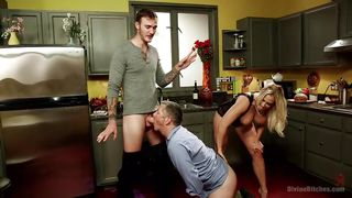 Humiliating Blowjob As His Wife Watches