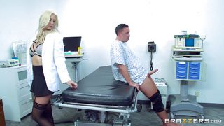 Busty Doctor Blowing The Patient's Dick