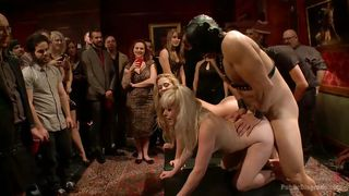 Blondes Fucked From Both Ends At A Public Disgrace Party