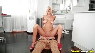 Busty Blonde Satisfies Her Urges By Riding Cock