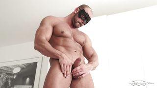 Masked Muscleman Flogs His Big Wiener