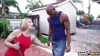 Cute Blonde Chokes On Big Black Cock