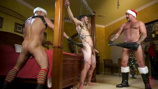 Hot Christmas Threesome With Kinky Bdsm