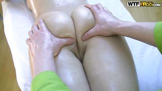 Oiled Chick Getting A Massage