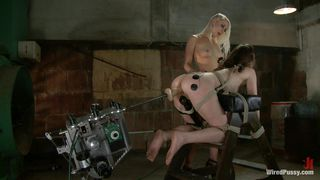 Blonde Mistress Uses Sex Machine And Electricity