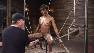 Skinny Ebony Beauty Gets Tortured And Brought To An Orgasm