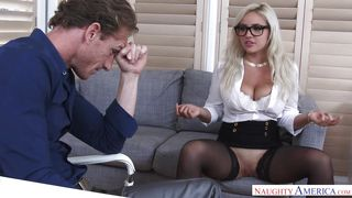 Blonde Busty Babe Gets Fucked On The Office Table