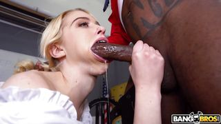 Cute Blonde Babe Is Happy To Have A Huge Black Cock Down Her Throat