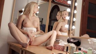 Sweet Blonde Girl Explores Her Sexuality