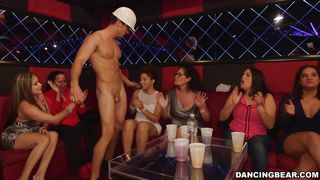 Slutty Ladies Suck A Stripper's Cock