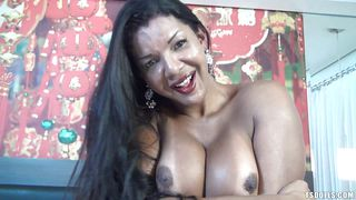 Naughty Busty Tranny Playing With Her Hard Dick