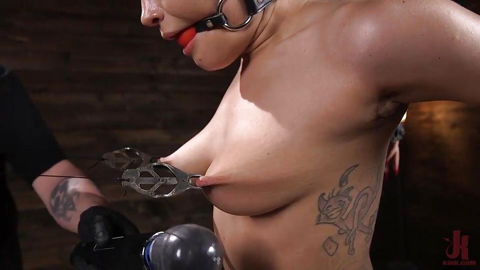 Hard nipples stretched bondage
