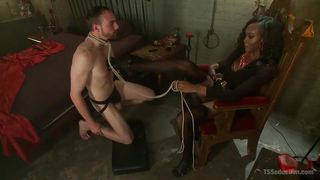 She Guides Her Slave To Her Cock