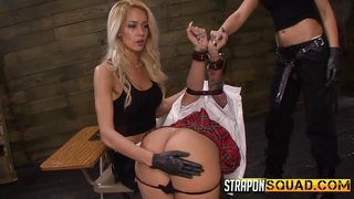 Gagged Slut Takes A Strap On Deep Inside Of Her