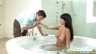 Wet And Slippery Titjob Done By A French Whore