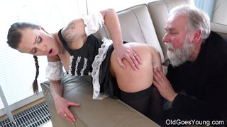 Old Goes Young-Slim Teen In Lacy Stockings Jumps On An Old Dick PornZek.Com