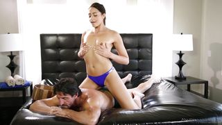 Svelte Brunette Avi Massages A Fat Cock With Her Hairy Pussy
