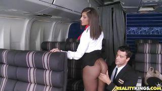 Curvy Flight Attendant Sucks A Pilot!