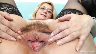 Old Czech Slut Shows Off Saggy Boobs And Hairy Cunt